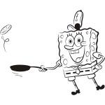 Coloriage Bob l'eponge cuisine