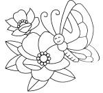 Coloriage fleur papillon