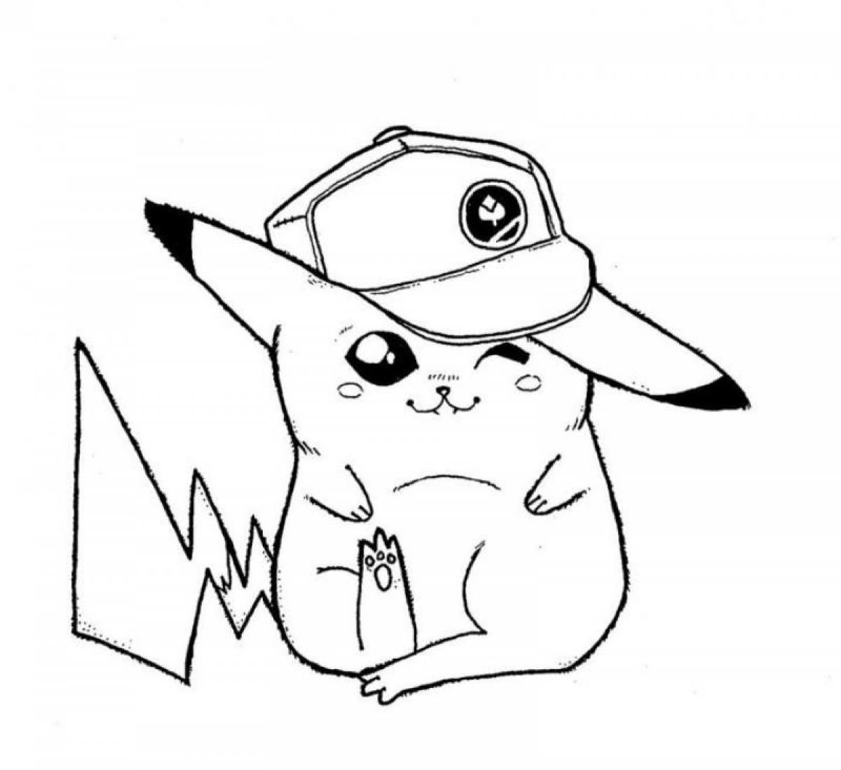 Coloriage Pikachu Sacha