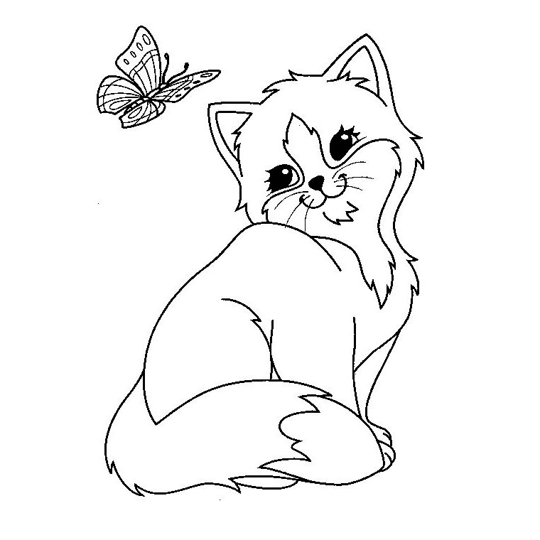 Coloriage chat et papillon