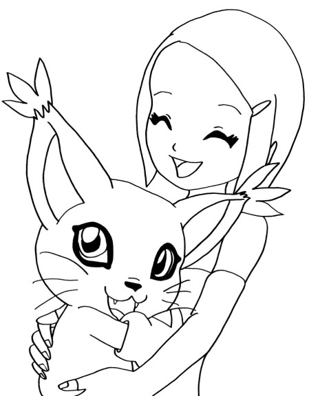 Coloriage Digimon Gatomon