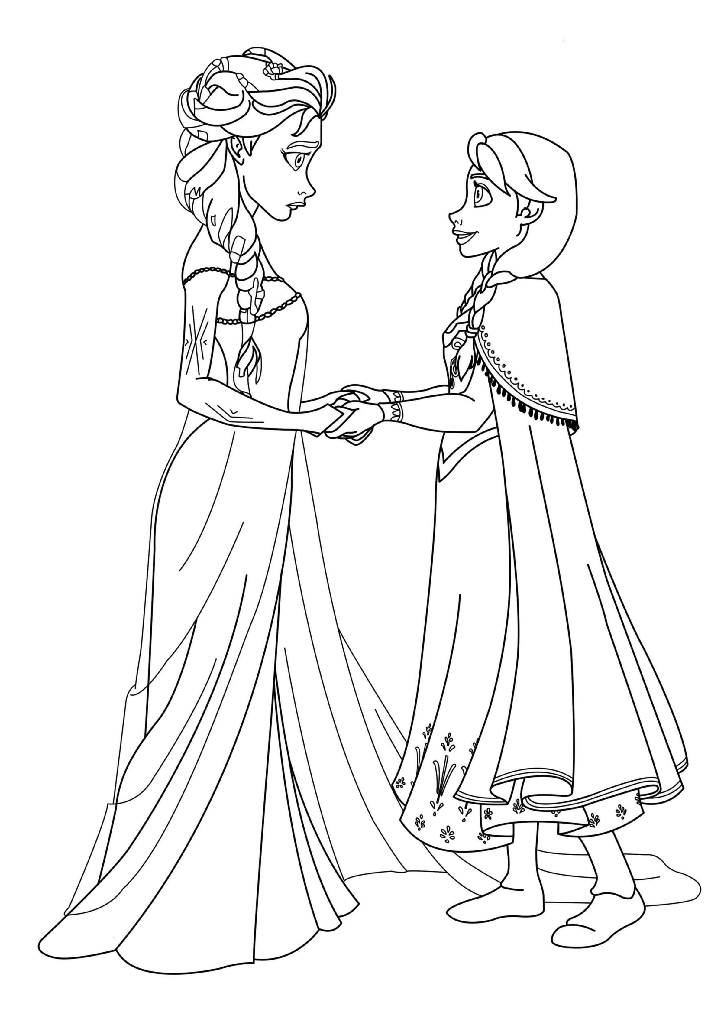 Coloriage Elsa Et Anna Disney A Imprimer