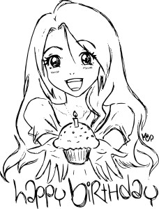 Coloriage fille anniversaire