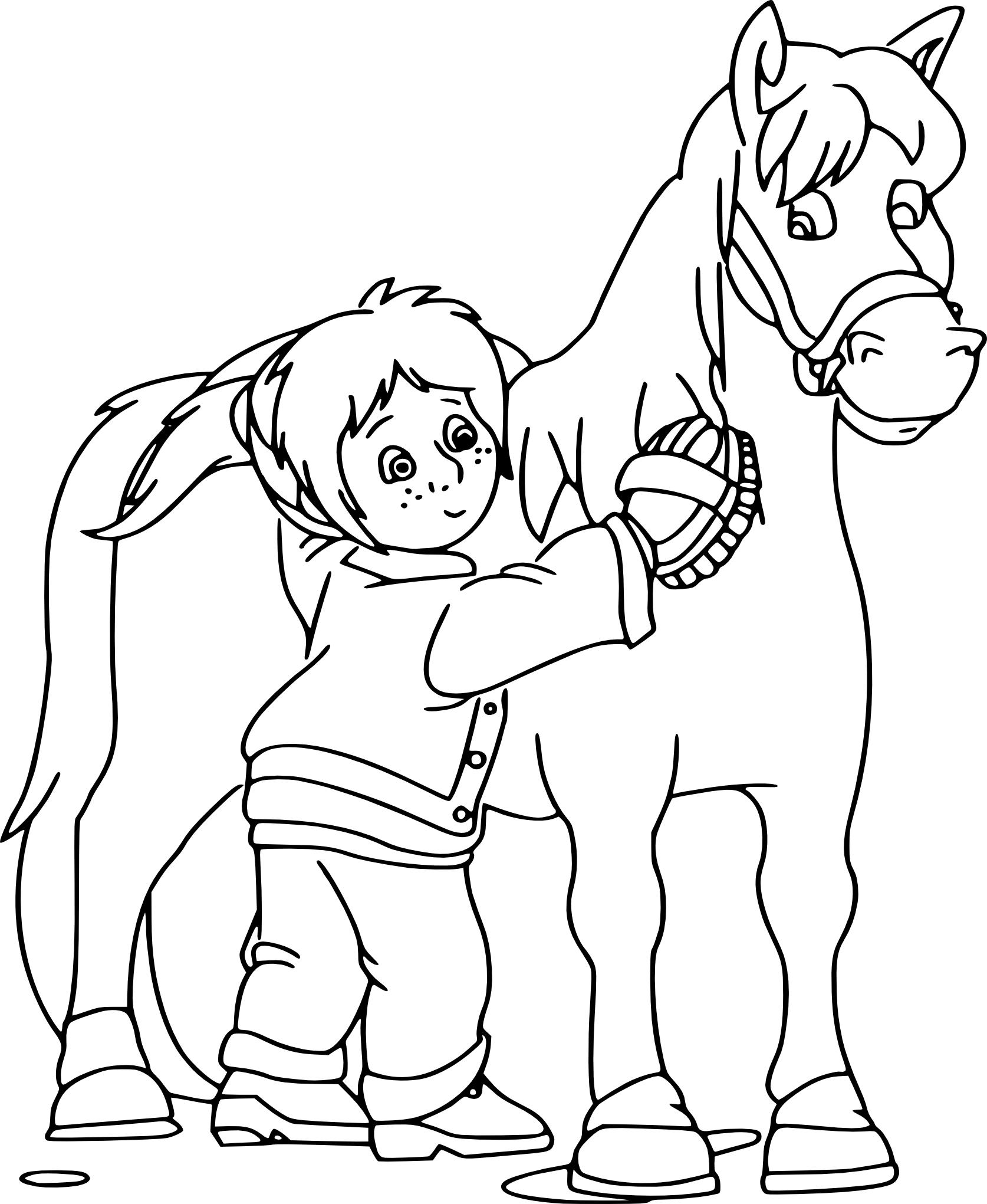 coloriage fille et cheval imprimer - Coloriage Fille