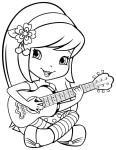 Coloriage fillette guitare