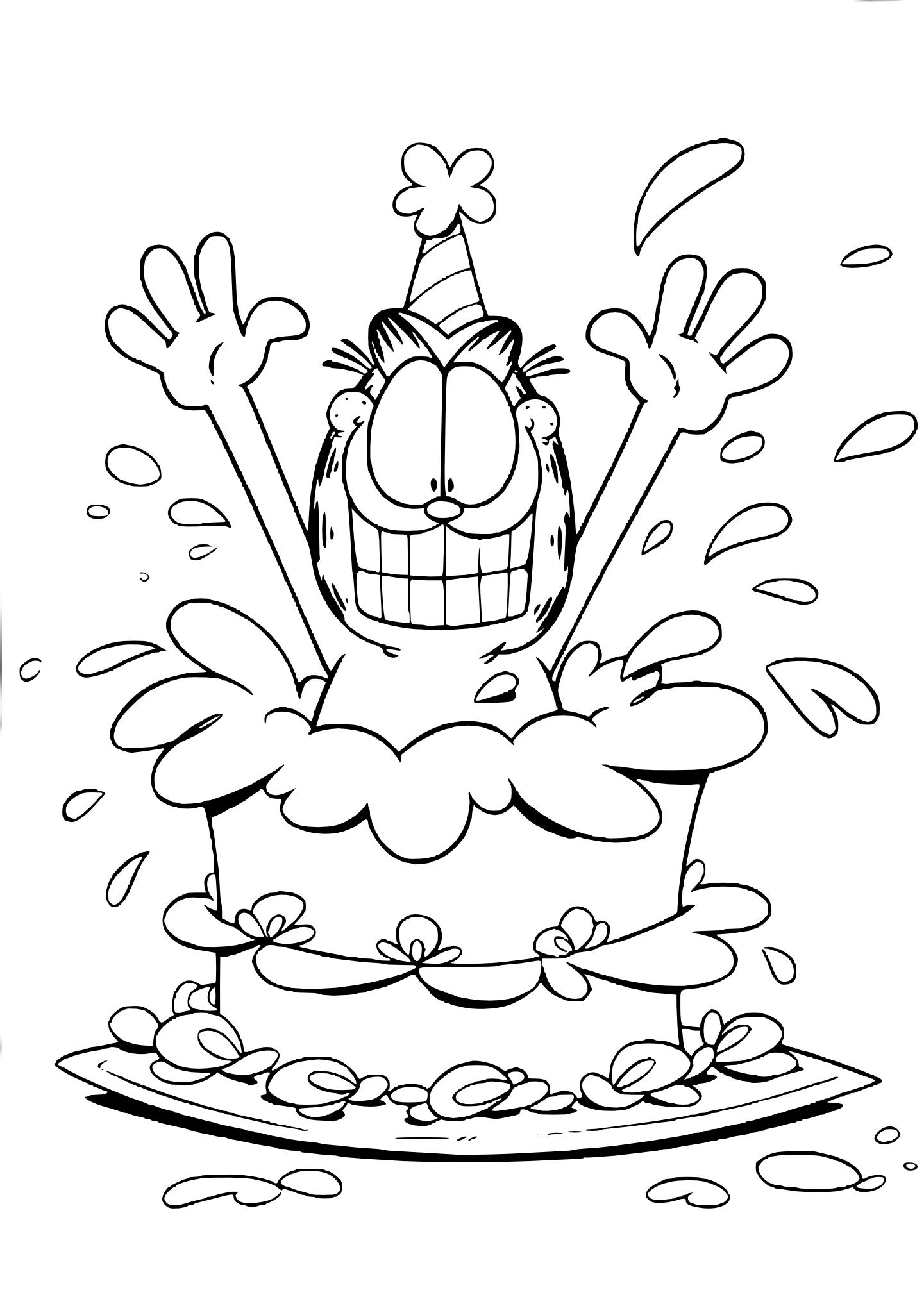 Coloriage Garfield gateau
