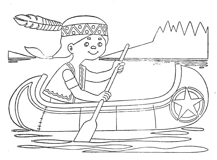 Coloriage indien sur une barque imprimer - Dessin anime indien cheval ...
