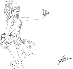 Coloriage Lucy Fairy Tail