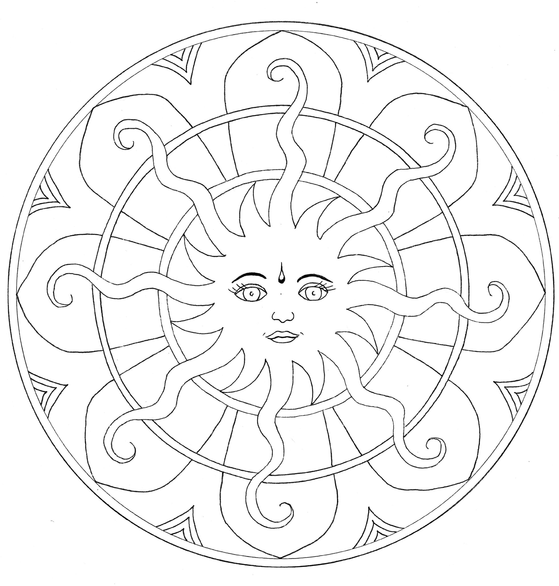 Coloriage mandala soleil