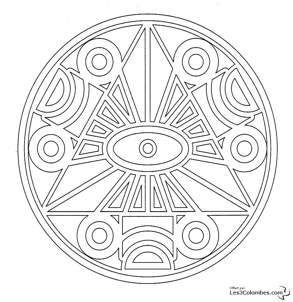 Coloriage mandala triangle
