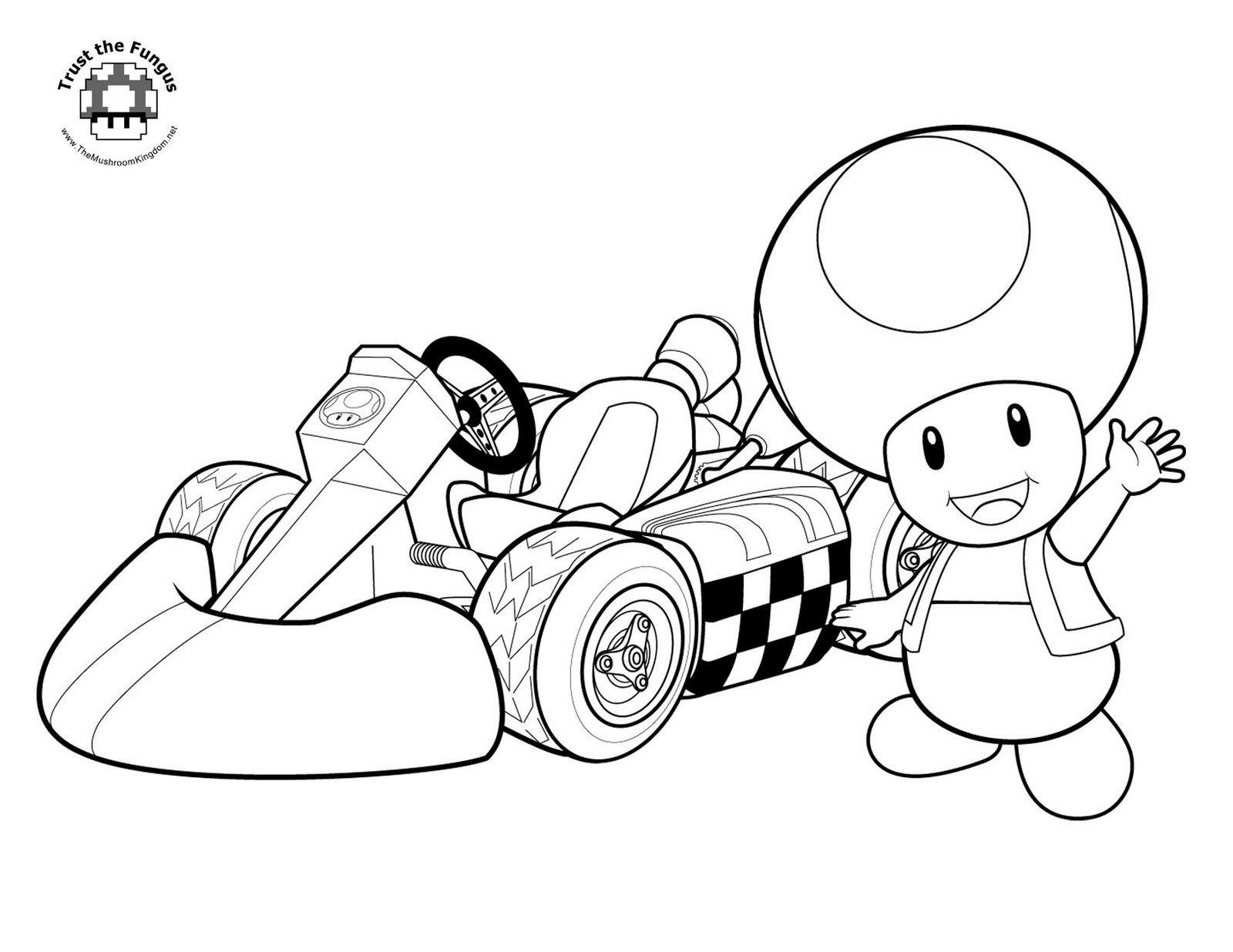 Coloriage Mario Kart Toad