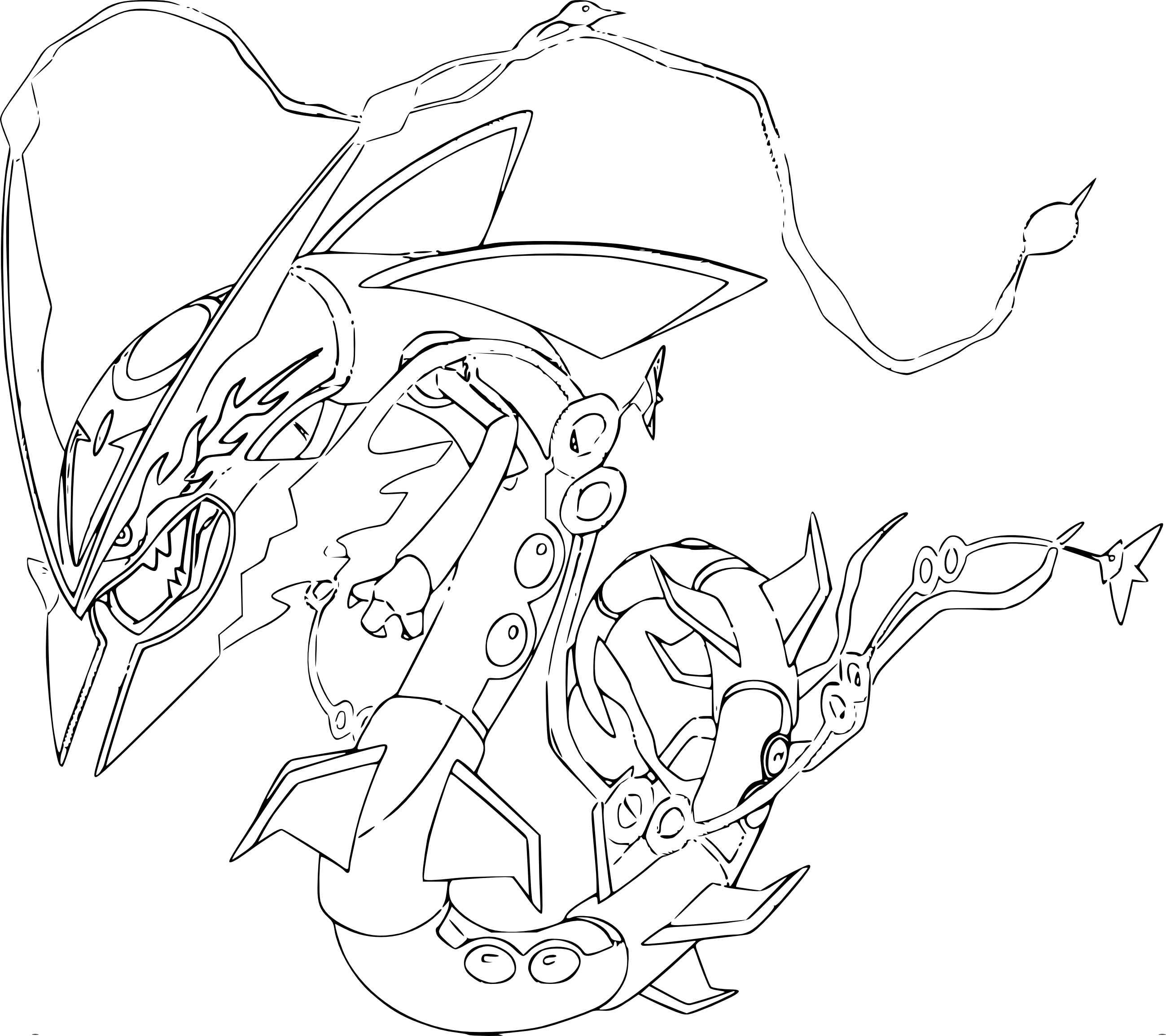 Coloriage m ga rayquaza pokemon imprimer - Coloriage carte pokemon ...