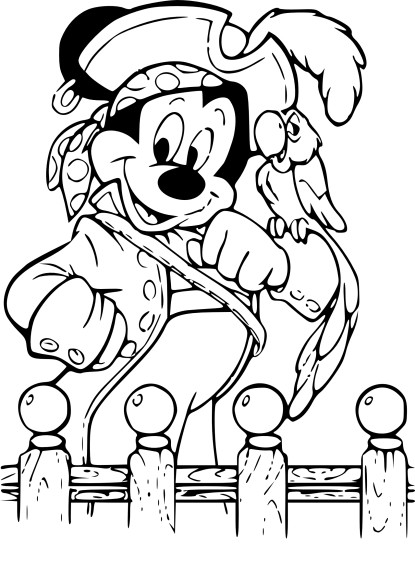 Coloriage Mickey pirate
