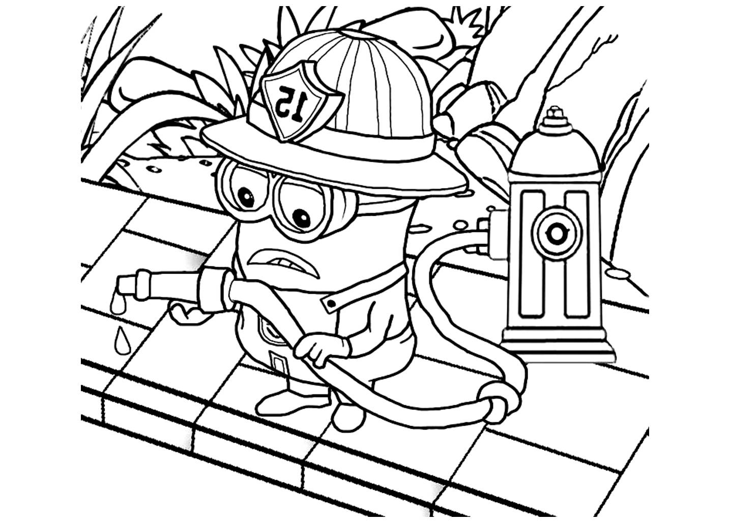 Coloriage minion pompier