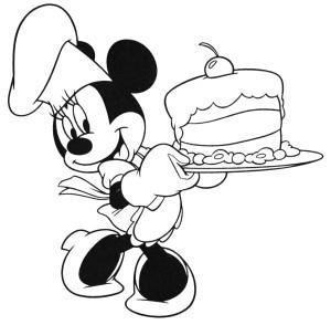 Coloriage Minnie gateau anniversaire