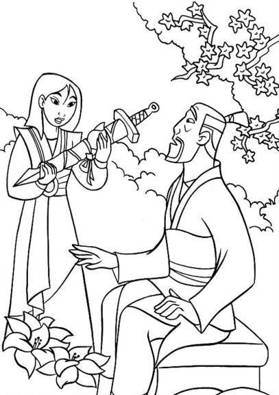 Coloriage Mulan et son pere