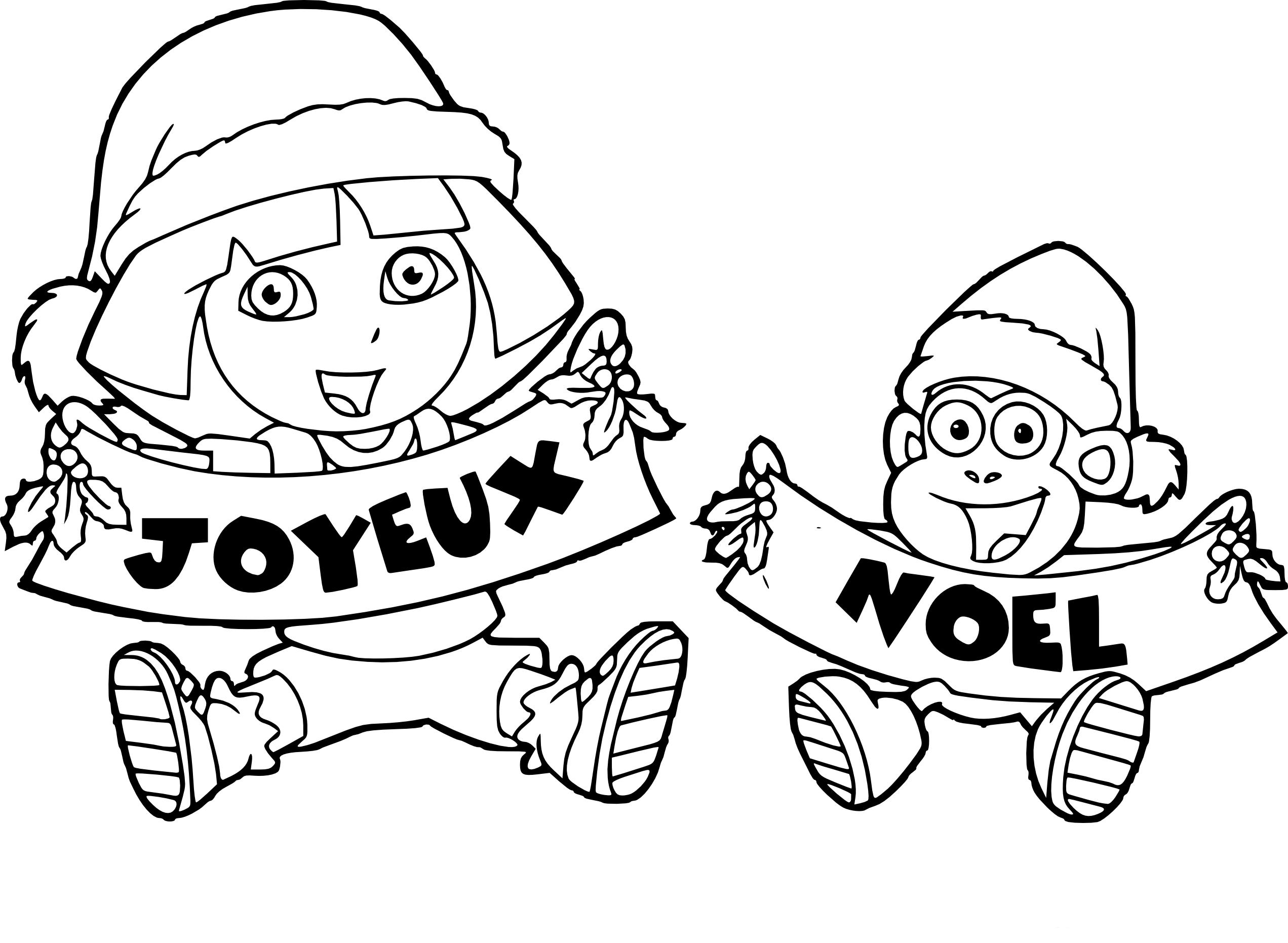 Coloriage Dora L Exploratrice Joyeux Noel A Imprimer