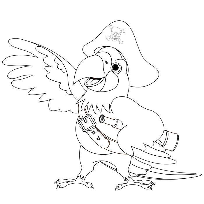 Coloriage perroquet pirate