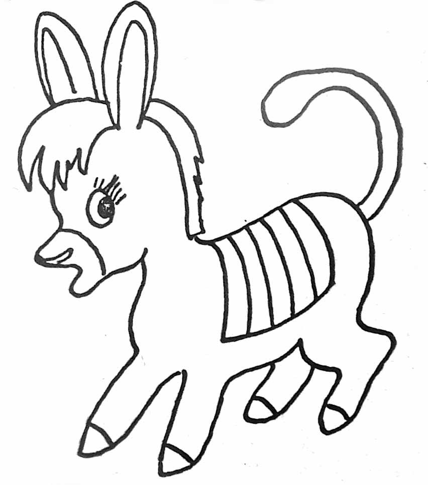 Coloriage petit âne