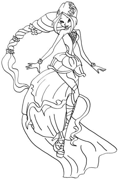 Coloriage princesse Flora