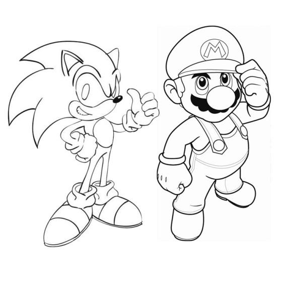 Coloriage Sonic et Mario