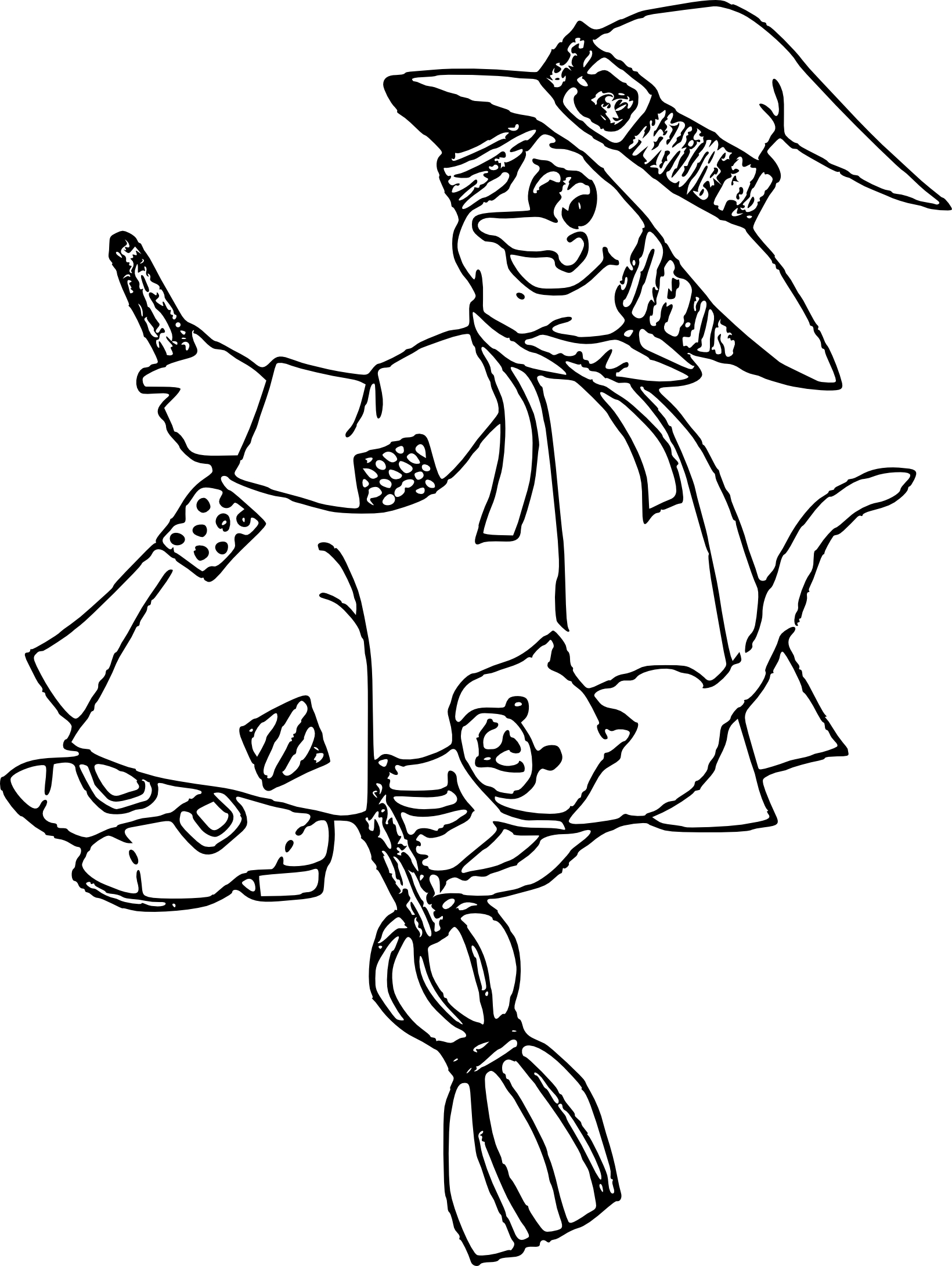 Coloriage sorciere chat
