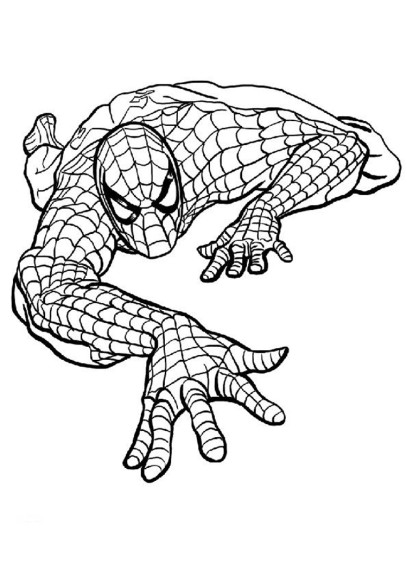 Coloriage Spiderman monte un mur