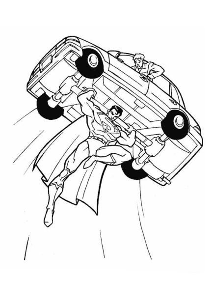 Coloriage Superman porte une voiture