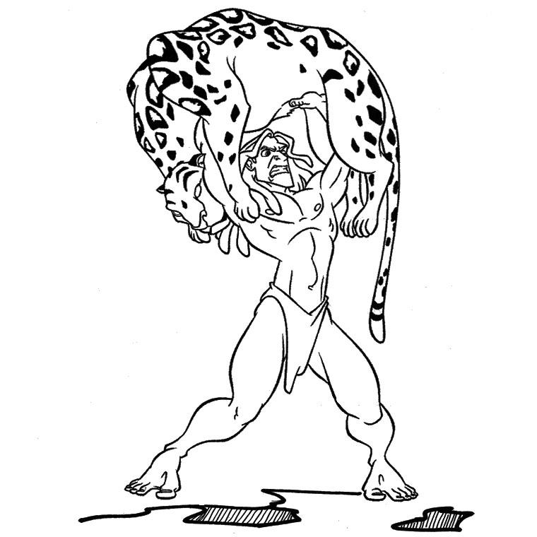 Coloriage Tarzan Contre Un Tigre à Imprimer