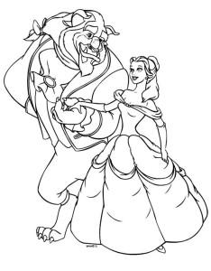 Coloriage Belle et la bete Disney
