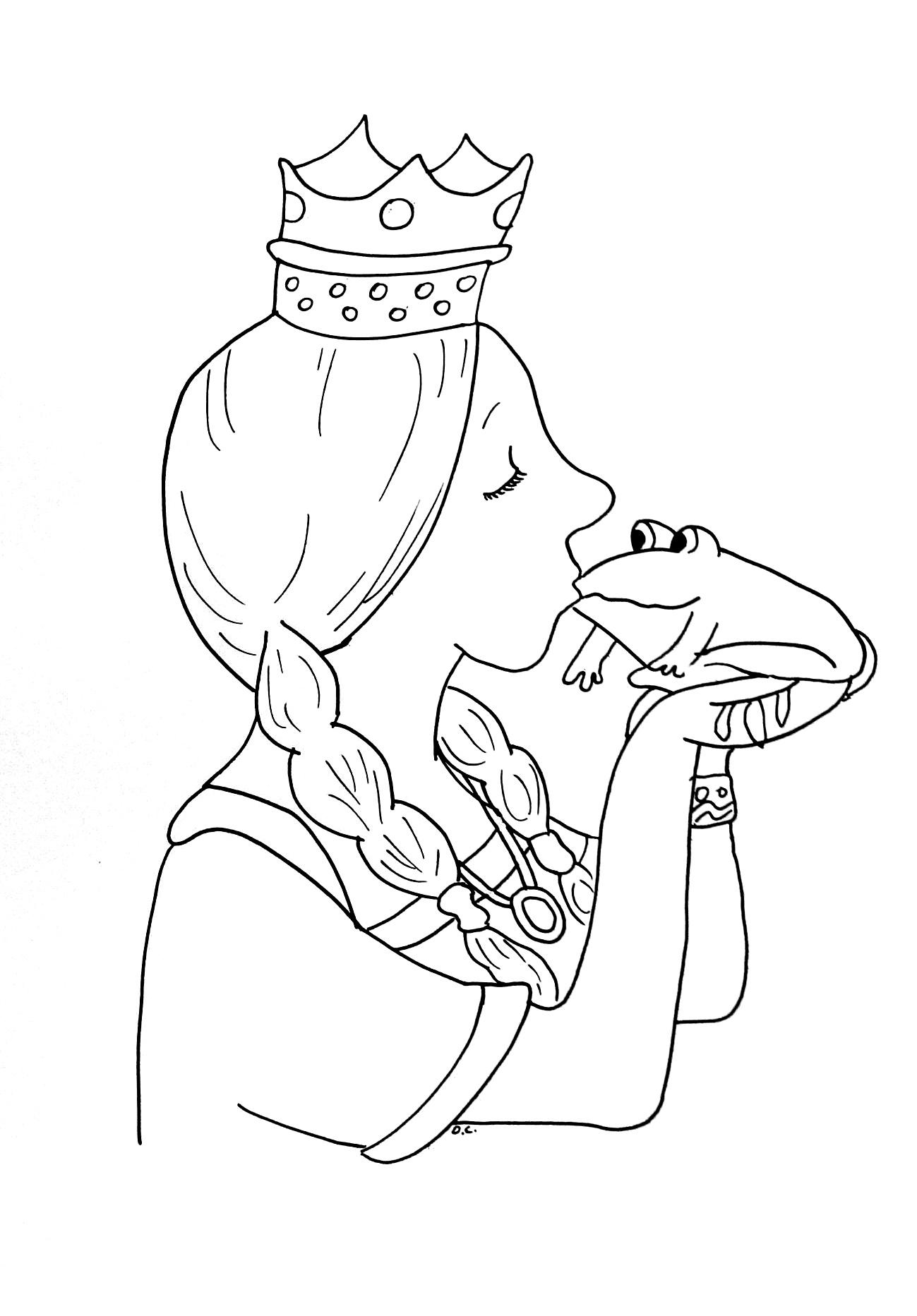 Coloriage bisou princesse