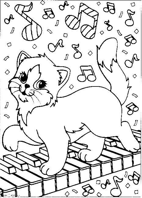 Coloriage chat musique