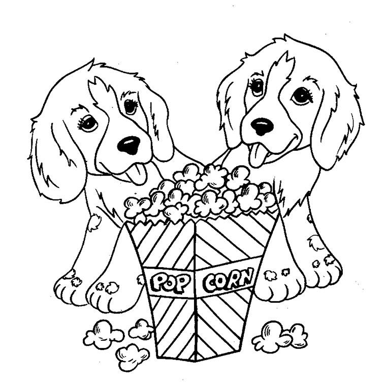 Coloriage chien Popcorn