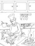 Coloriage cuisinier dans une cuisine