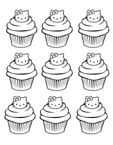 Coloriage cupcake Hello Kitty