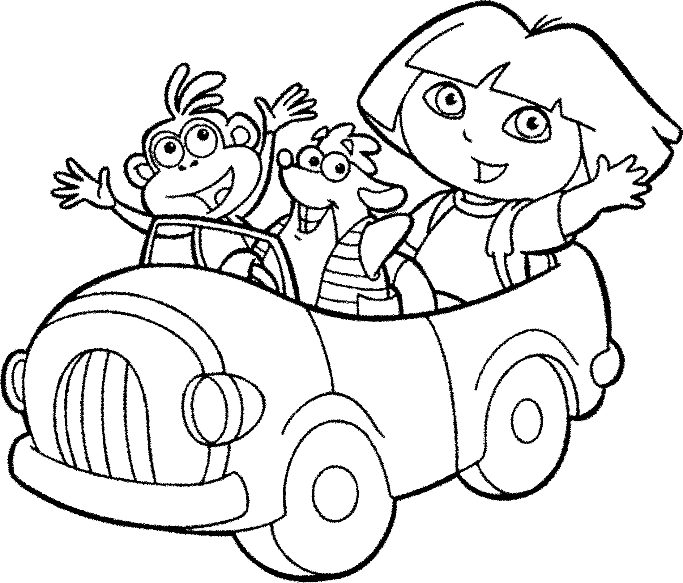 Coloriage Dora voiture