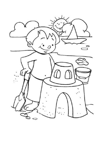 Coloriage enfant la plage imprimer - Coloriage de plage ...