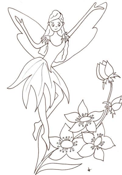 Coloriage fée fleur
