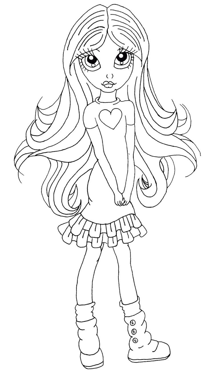Coloriage une fille avec de longs cheveux à imprimer