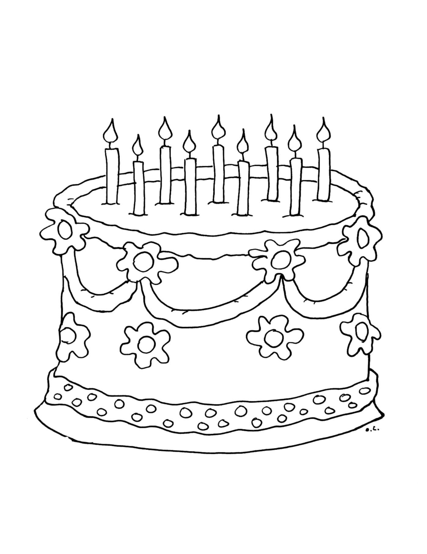 Coloriage gateau bougies