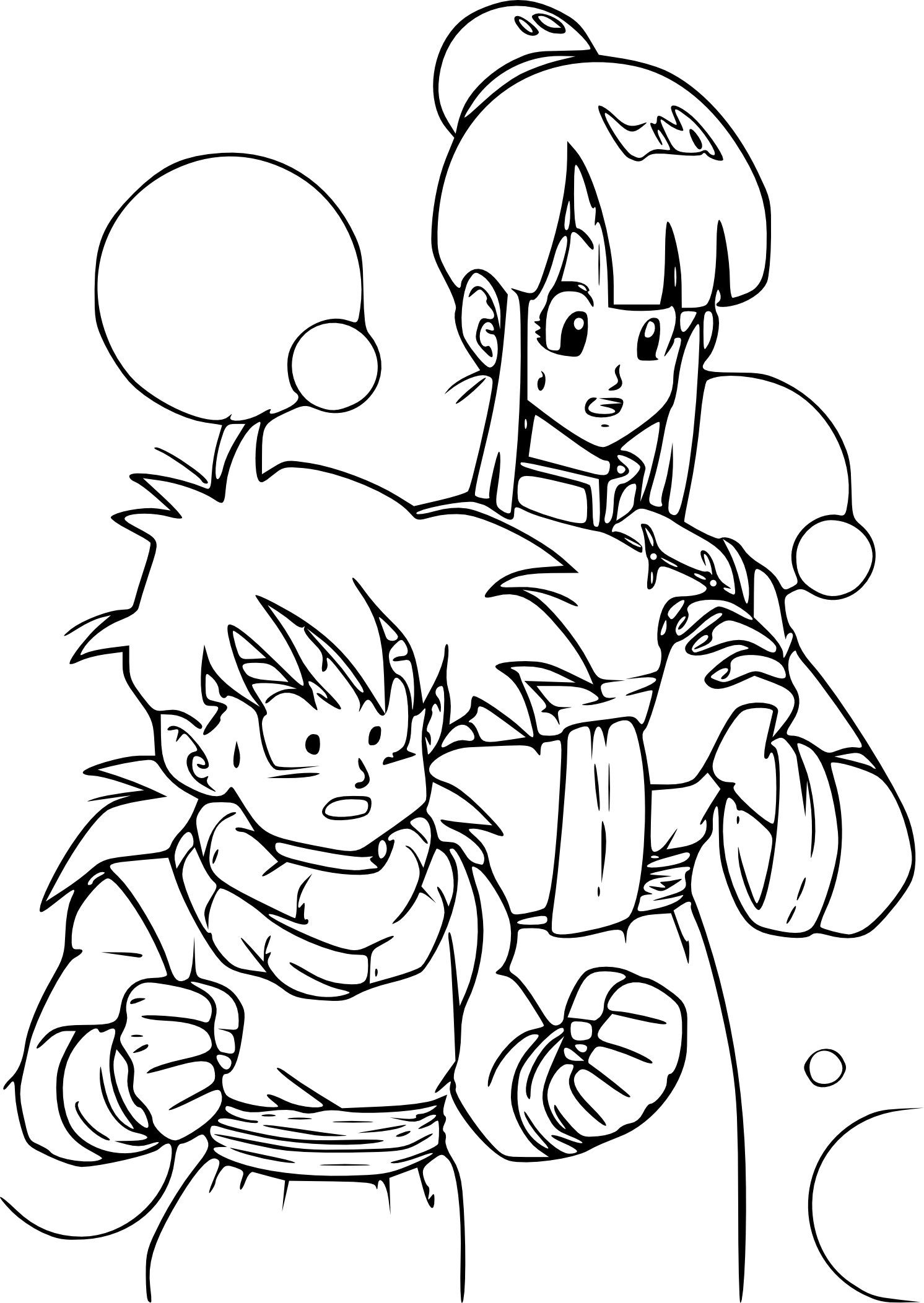 Coloriage sangohan et chichi imprimer - Dessin de dragon ball ...