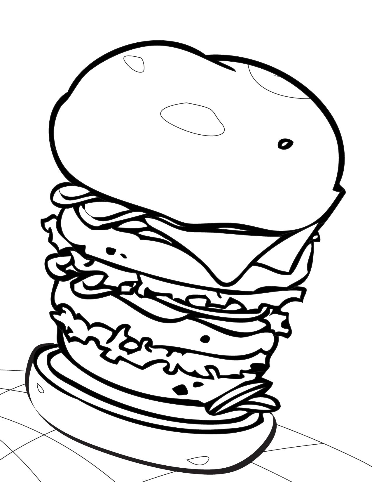 Coloriage gros hamburger