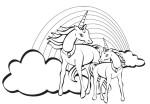 Coloriage licornes arc-en-ciel