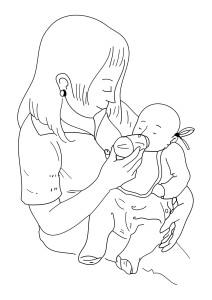 Coloriage maman donne biberon