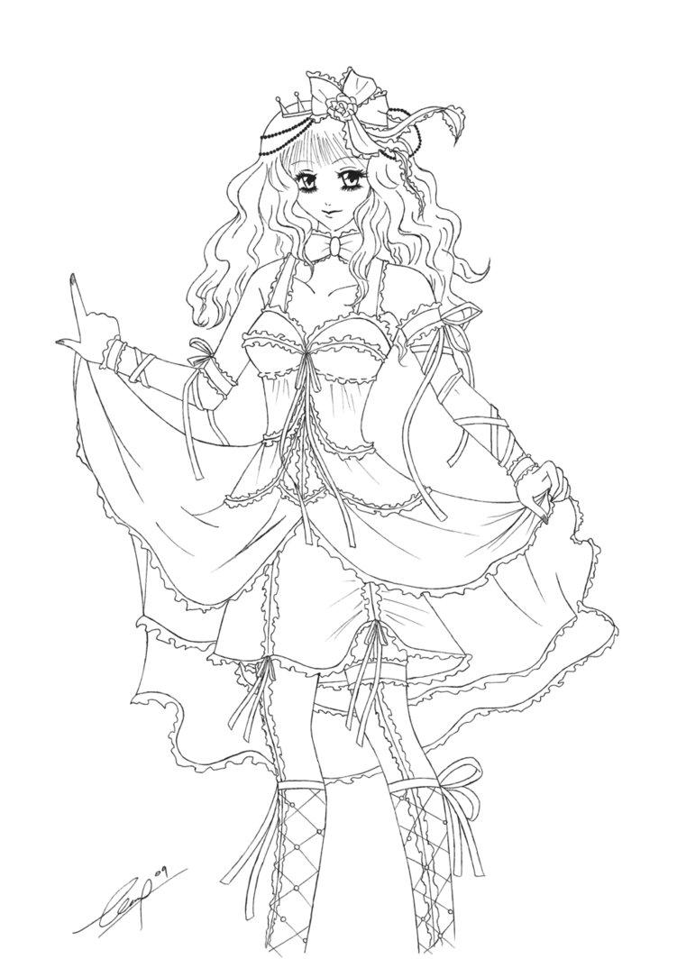 Coloriage manga princesse