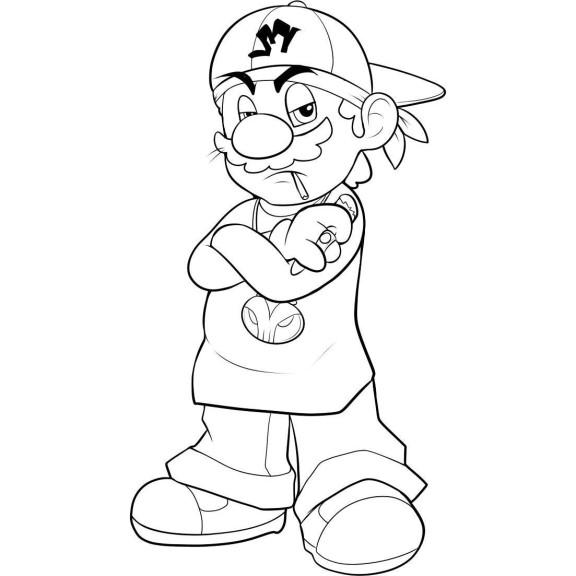 Coloriage Mario Swag