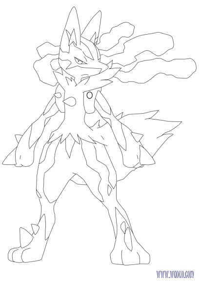 Coloriage mega lucaria pokemon imprimer - Pokemon a imprimer mega evolution ...