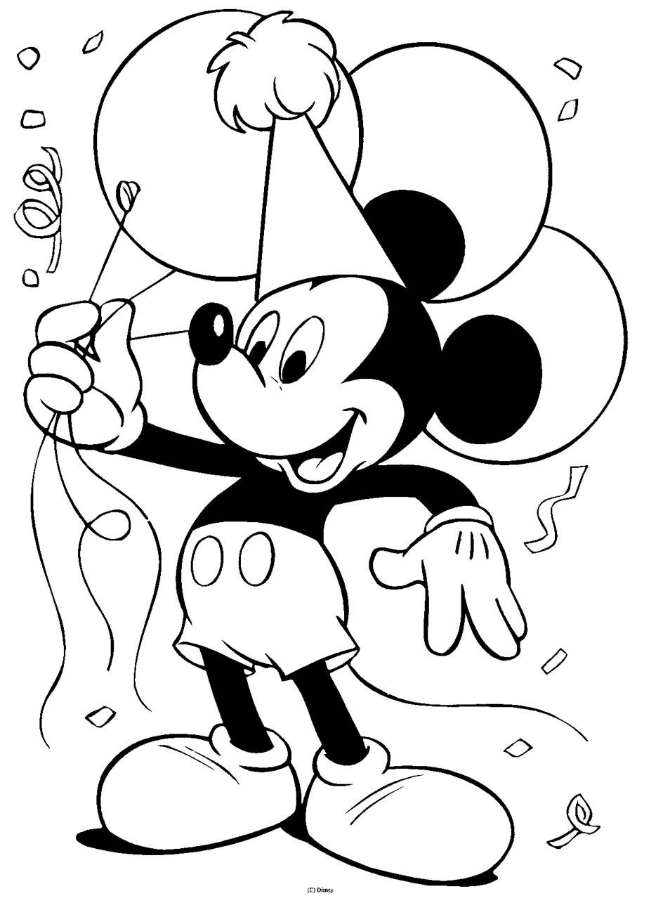 Coloriage Mickey anniversaire