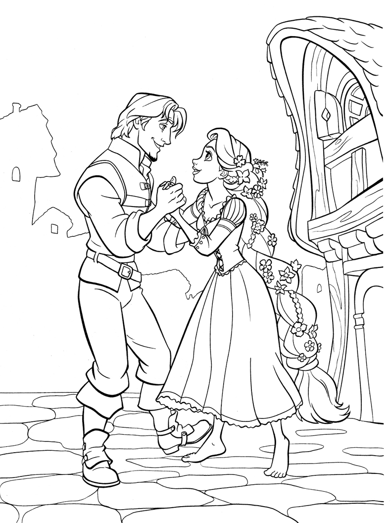 Coloriage Raiponce Et Flynn Rider A Imprimer