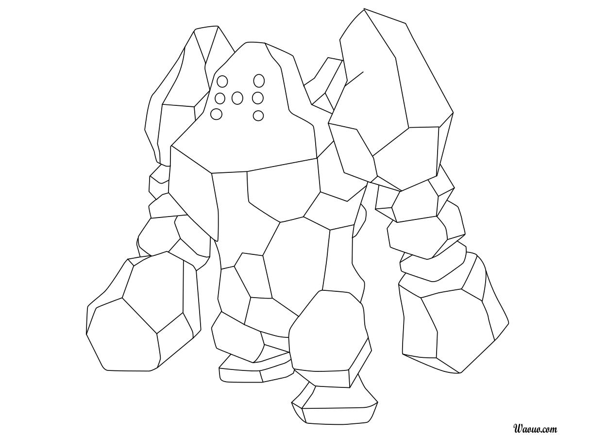 Coloriage Pokemon légendaire Regirock à imprimer